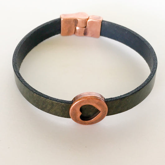 Metallic Leather Bracelet with Copper Heart Slider and Magnetic Clasp