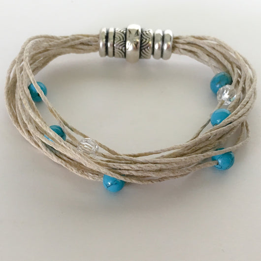 Hemp Beaded Bracelet with Strong Magnetic Clasp fits to size 7.5 - XL - Shining Bee