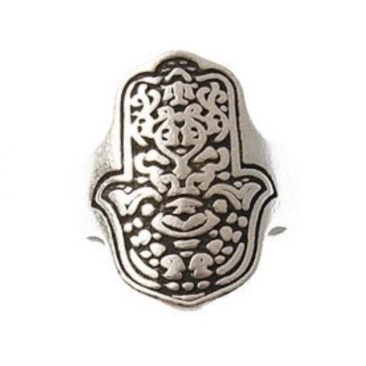Greek Hamsa Adjustable Pewter Ring - Antique Silver - Shining Bee
