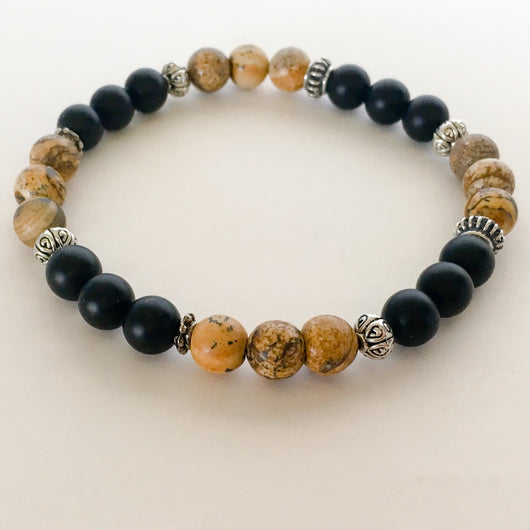 Jasper, Matte Black Onyx and Silver Pewter Beaded Stretch Bracelet - Shining Bee