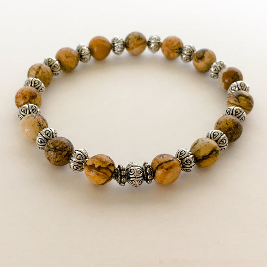 Jasper and Pewter Bead Stretch Bracelet - Shining Bee