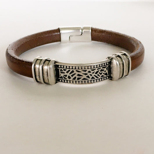 Greek Leather Bracelet with Antique Silver Metal Tube Connector - Shining Bee