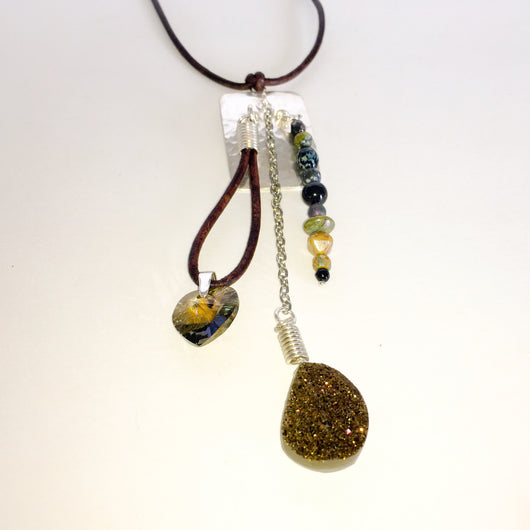 Leather Necklace with Hills Tribe Pendant/Clasp, Druzy,and Swarovski(R) Heart