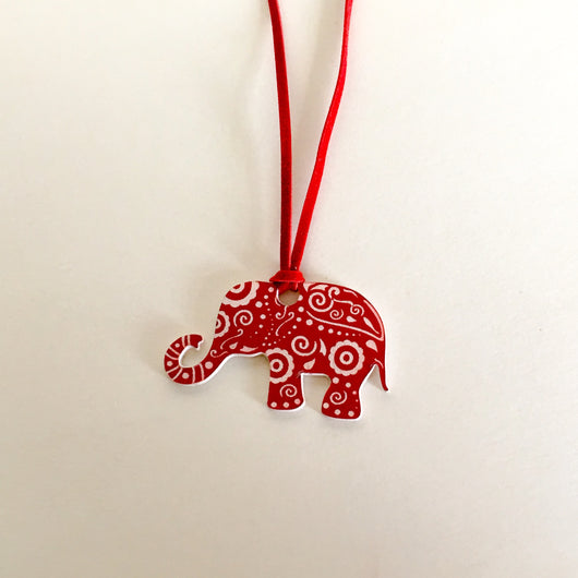 Red Suede Necklace with Mandala Inspired Die Cut Elephant Adj. to 30