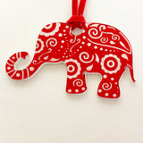 Red Suede Necklace with Mandala Inspired Die Cut Elephant Adj. to 30""