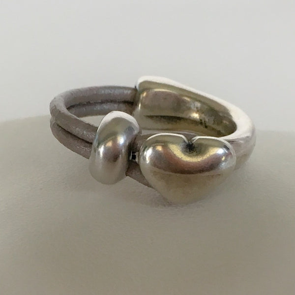 Leather half hoop heart ring - Metallic Taupe