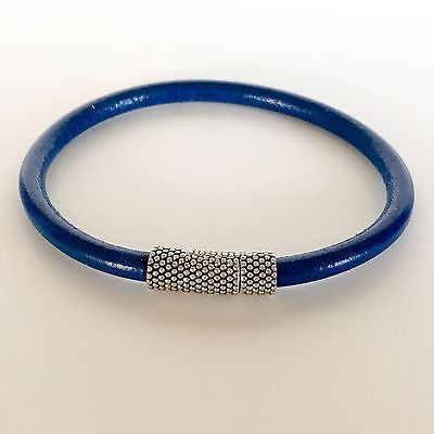 Blue Leather Bracelet with Easy Close Magnetic Metal Clasp - Shining Bee