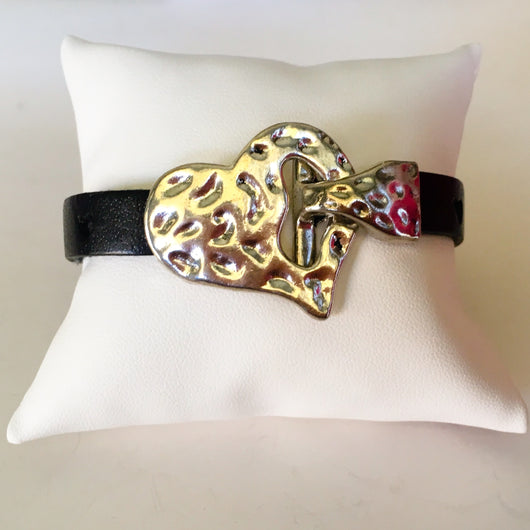 Dimpled Metal Heart Toggle Clasp/Black Heart Stamped Leather Wristband - Shining Bee