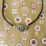 Bird In Nest Leather Necklace - Green Girl Studios Toggle Clasp - Shining Bee