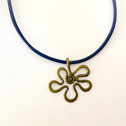 Brass Flower Pendant Blue Leather Cord Necklace - Shining Bee