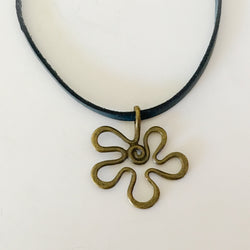 Brass Flower Pendant Teal Leather Strap Necklace - Shining Bee