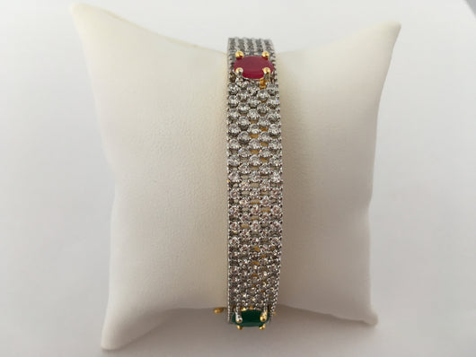 Imitation Ruby & Emerald Bangle with Clasp - Shining Bee