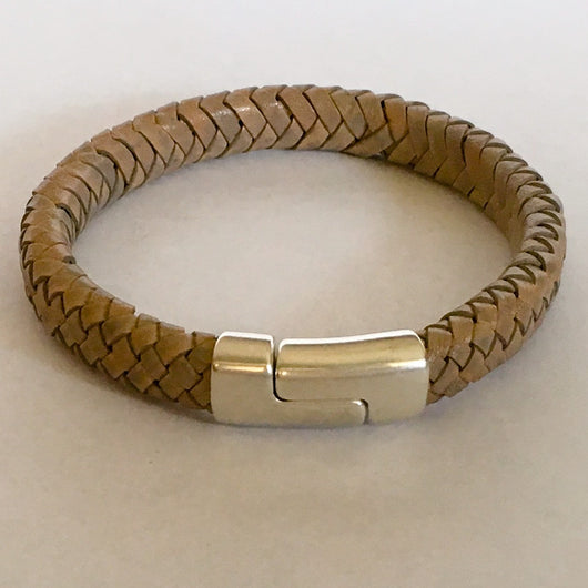 Braided Thick Cord Leather Bracelet with Super Strong Metal Clasp - Shining Bee