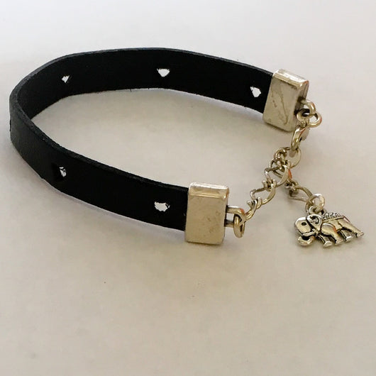 Black Heart Stamped Leather Bracelet with extension chain and elephant charm - Shining Bee
