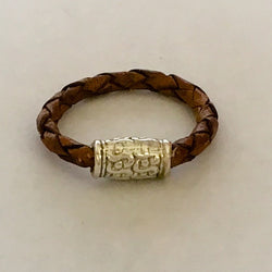 Braided Brown Leather Ring Shining Bee original - Shining Bee