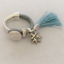 Grey Blue Leather Half Hoop Circle Ring with Sun Charm and Tassel - Shining Bee