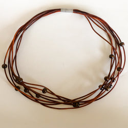 Multi Layer Leather Necklace with Wood Beads - Shining Bee original