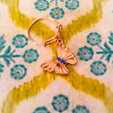 Adjustable Rose Gold Ring with Butterfly Charm and Tiny Crystals - Shining Bee