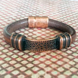 Greek Leather Bracelet with Antique Copper Metal Tube Connector - Shining Bee