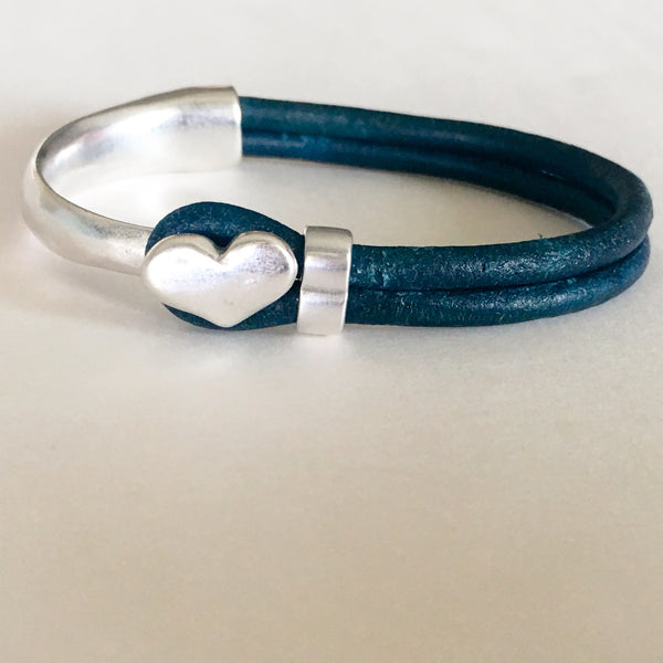 Antique Silver Heart Half Cuff Leather Bracelet - Teal