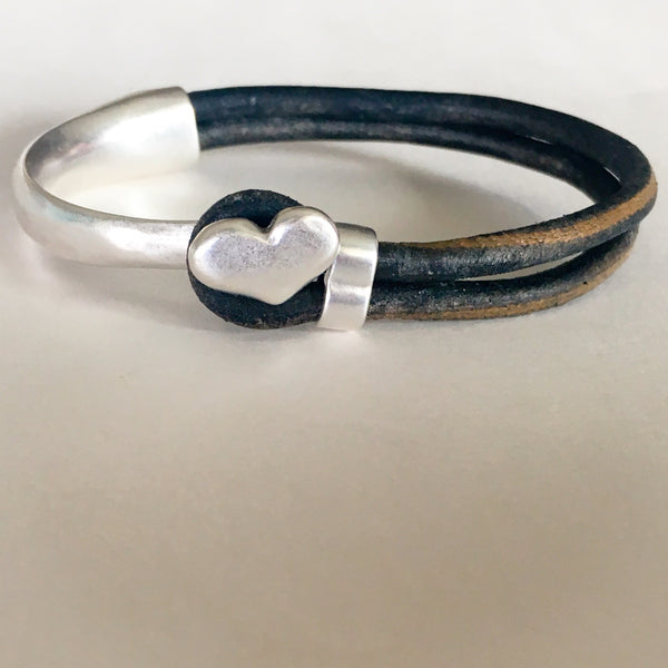 Antique Silver Heart Half Cuff Leather Bracelet - Distressed Black