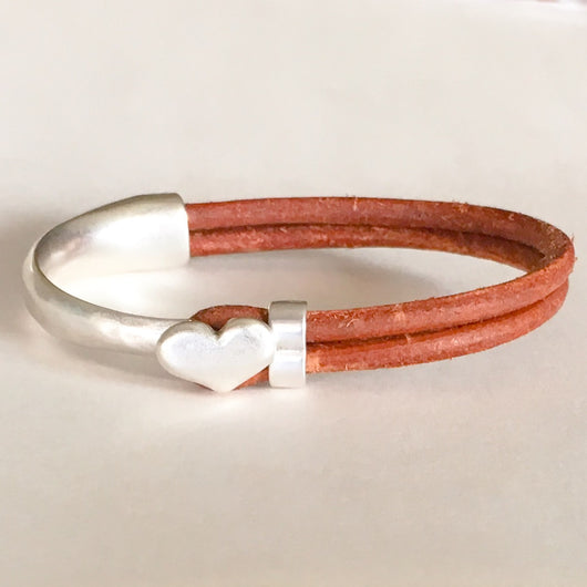 Antique Silver Heart Half Cuff Leather Bracelet - Brown - Shining Bee
