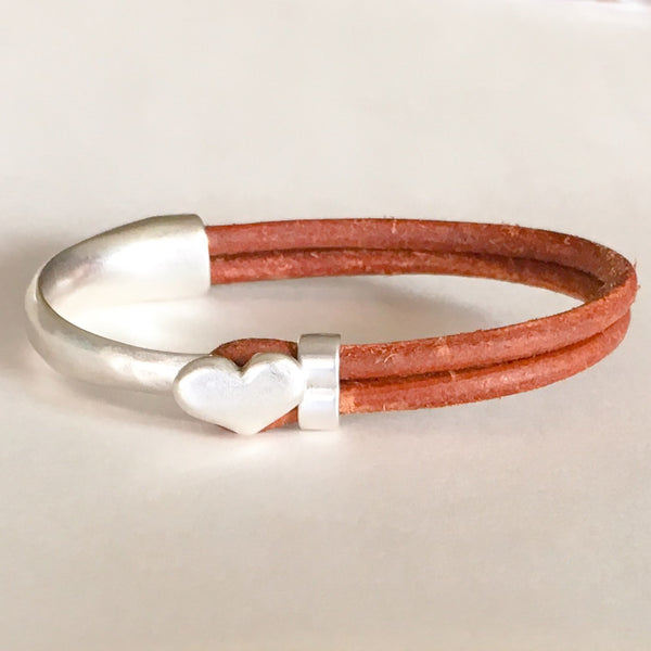 Antique Silver Heart Half Cuff Leather Bracelet - Brown