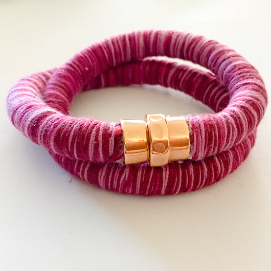 Knitted Cord Wrap Bracelet/Choker with Magnetic Clasp - Dark Purple - Shining Bee