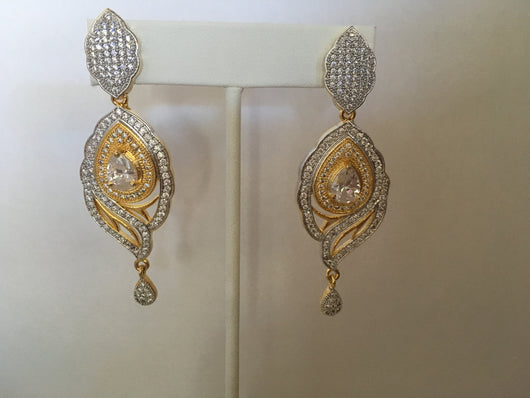 Large Imitation Diamond Earrings - Shining Bee