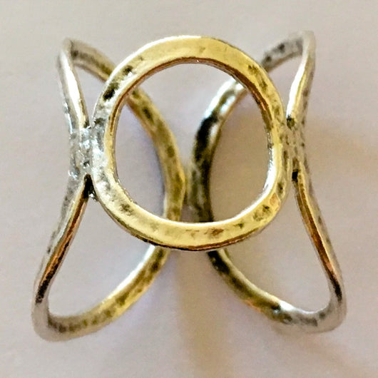 Brass Cast Adjustable Chevalier Ring Plated in Antique Silver - Shining Bee