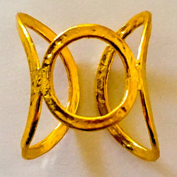 Brass Cast Adjustable Chevalier Ring Plated in Gold - Shining Bee
