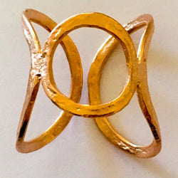 Brass Cast Adjustable Chevalier Ring Plated in Rose Gold - Shining Bee
