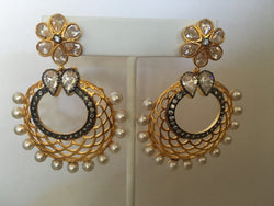 Large Earrings - imitation diamonds/pearls - Shining Bee