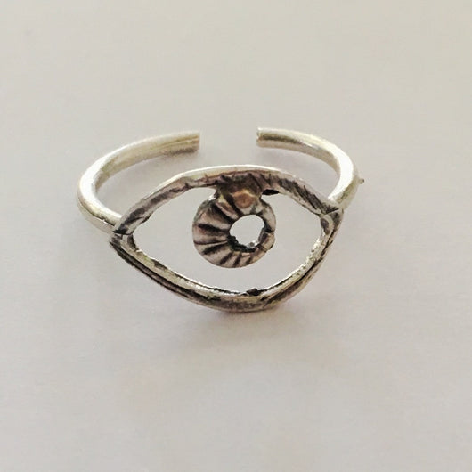 Brass Cast Adjustable Eye Ring Plated in Antique Silver - Shining Bee
