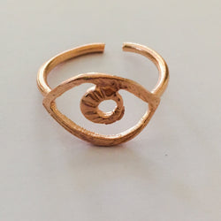 Brass Cast Adjustable Eye Ring Plated in Rose Gold - Shining Bee