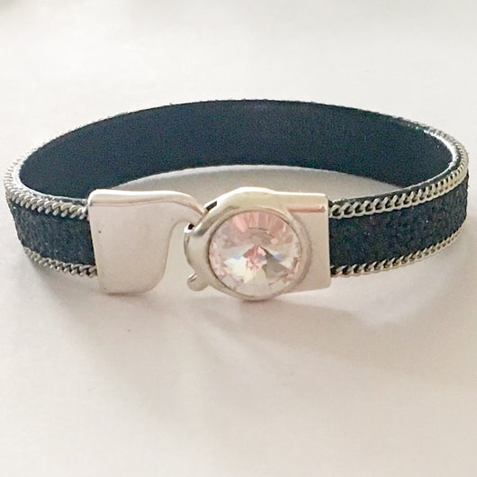 Chain Caviar Vegan Leather Bracelet w/Swarovski(R) Crystal-Black/Silver/Clear Crystal - Shining Bee