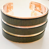 Electro Rose Gold Plated Brass Cuff with Metallic Brown Leather - Shining Bee
