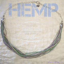 Hemp and Silver Filled Chain Necklace adj. 18-20