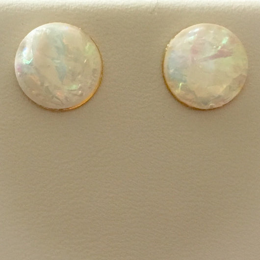 Pearlized Crystal Effect Resin Earrings - White