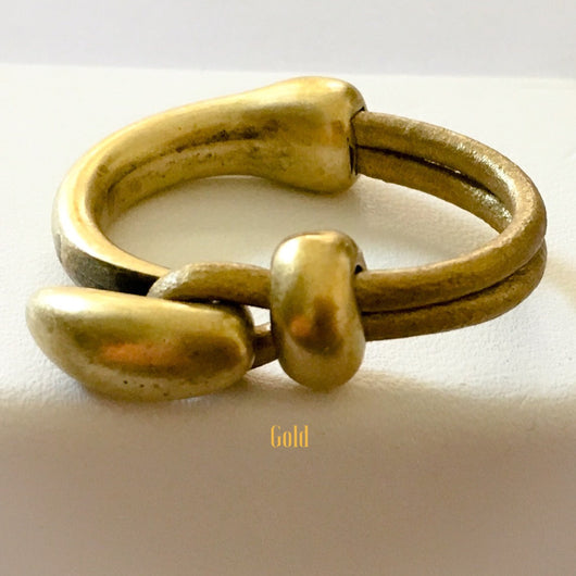 Half Cuff Antique Brass Leather Ring - Gold - Shining Bee