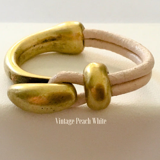 Half Cuff Antique Brass Leather Ring - Vintage Peach White - Shining Bee