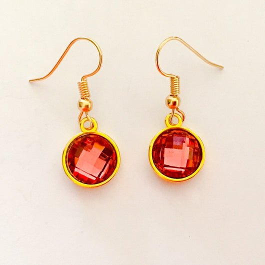 Resin Crystals set in Gold or Silver Plated Dangles Shepherd Hook Earrings - Red
