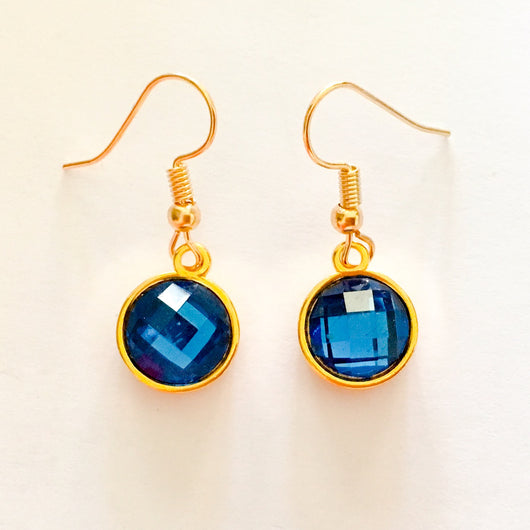 Resin Crystals set in Gold or Silver Plated Dangles Shepherd Hook Earrings - Sapphire