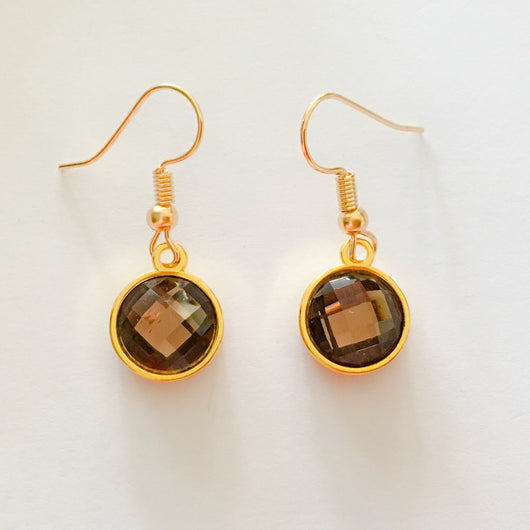 Resin Crystals set in Gold or Silver Plated Dangles Shepherd Hook Earrings - Light Coffee Brown