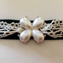 Black Velvet/Lace Choker with Acrylic Pearl Accents - Shining Bee