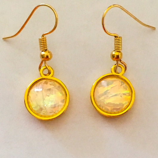 Pearlized Crystal Effect Resin Earrings set in Gold or Silver Plated Dangles - White
