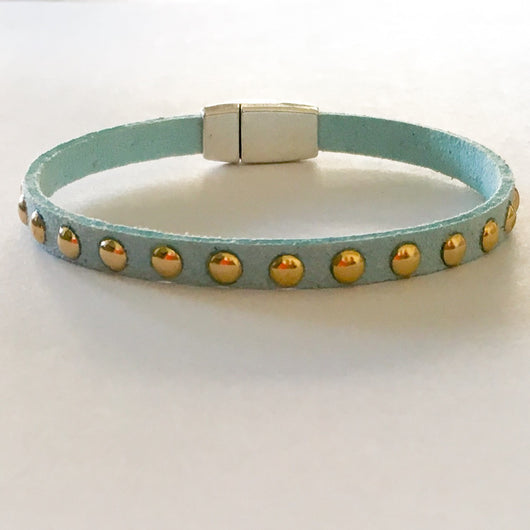 Faux Suede Studded Bracelet - Turquoise with Silver Plated Magnetic Clasp - Shining Bee