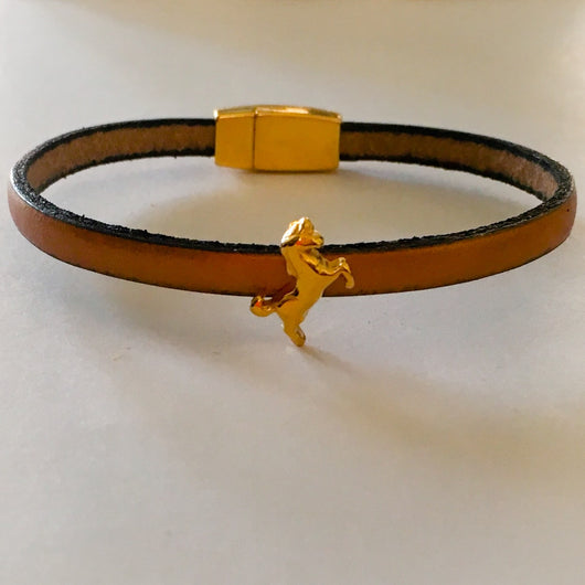 Italian Leather Bracelet with Gold Plated Unicorn Slider and Clasp - Shining Bee