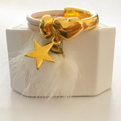 24k Gold Plated Half Cuff Heart Ring with Fur Tassel and 24k Gold Plated Star Charm - Shining Bee