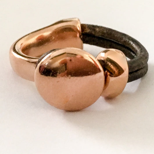 Rose Gold Plated Circle Half Cuff Leather Ring